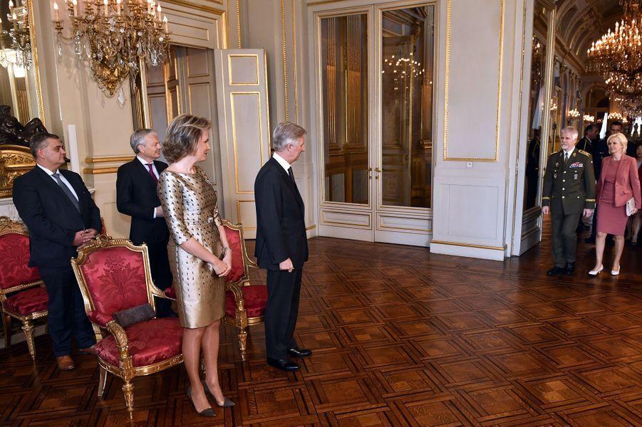 Mathilde Et Philippe De Belgique Au Palais Royal À Bruxelles, Le 26 Janvier 2017 4