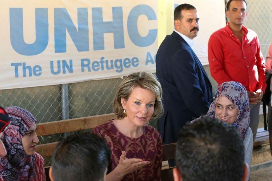 La reine Mathilde de Belgique en Jordanie dans le cadre d'une visite de travail humanitaire, le 24 octobre 2016