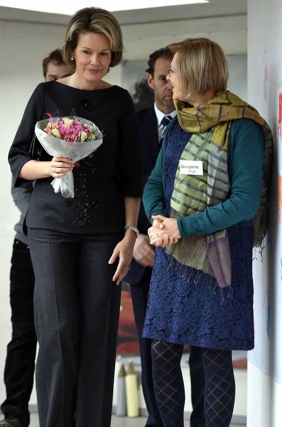 La reine Mathilde de Belgique à la section locale d'Etterbeek du Mouvement ATD Quart Monde, le 2 février 2017