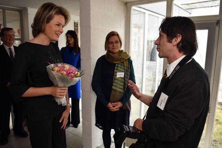 La reine Mathilde de Belgique à la Maison Quart Monde d'Etterbeek, le 2 février 2017