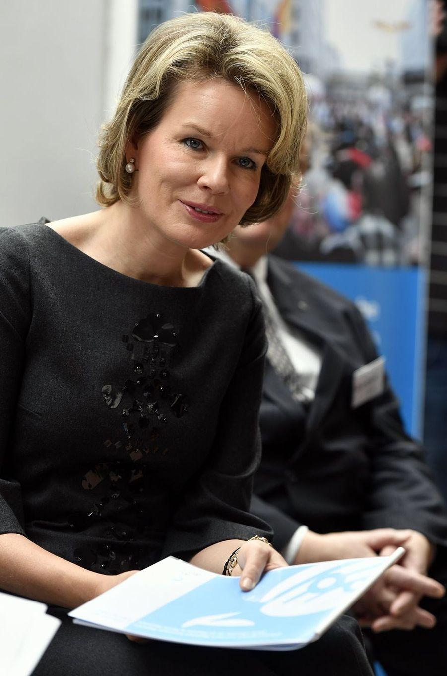 La reine des Belges Mathilde à Etterbeek, le 2 février 2017