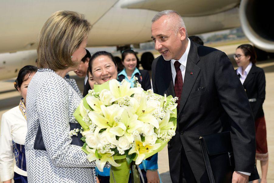 La reine Mathilde de Belgique à Vientiane au Laos le 20 février 2017