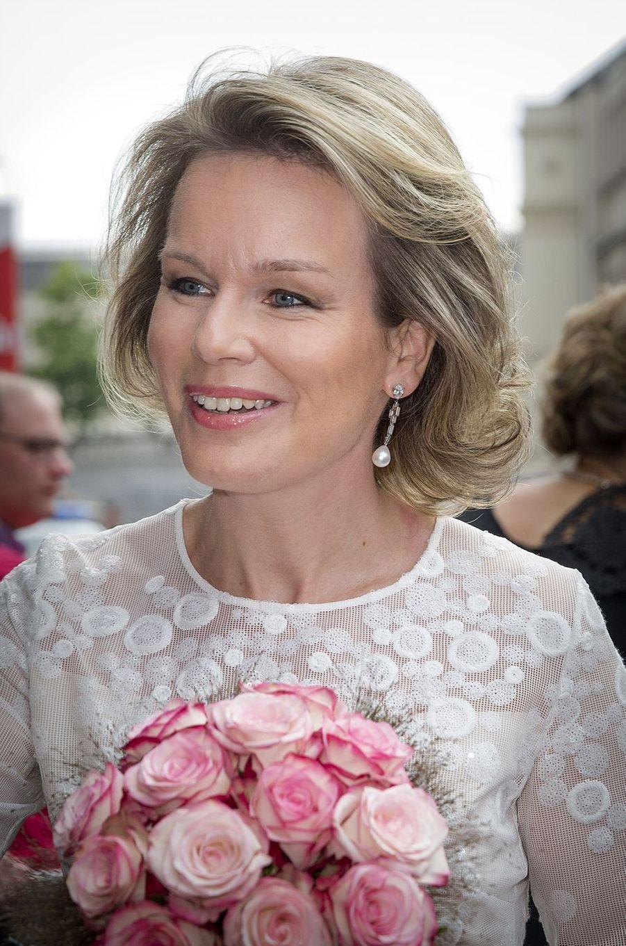 La reine Mathilde de Belgique à Bruxelles, le 25 mai 2016