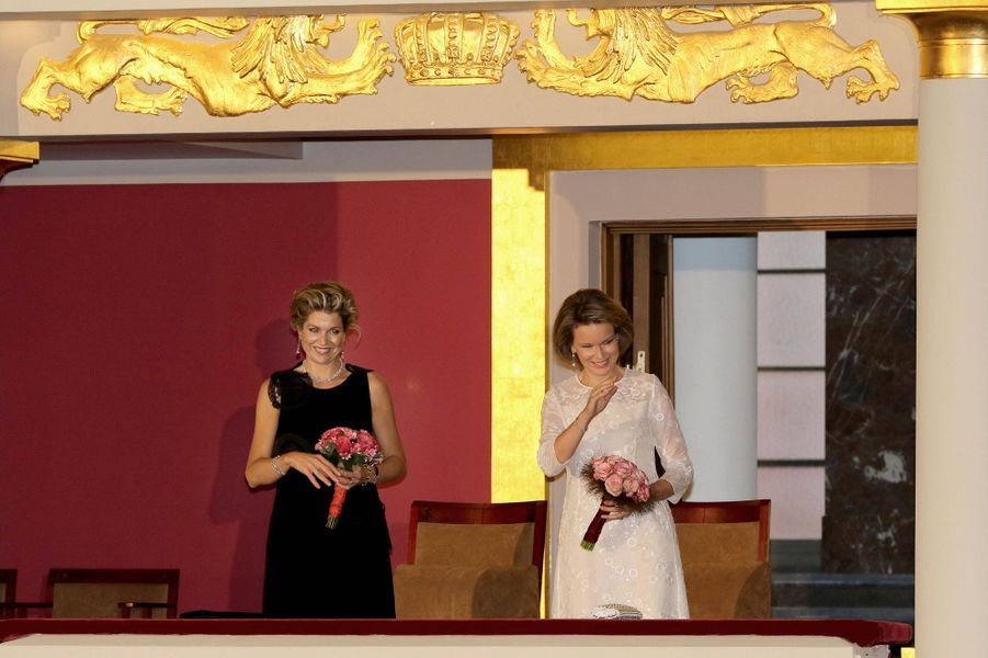 La reine Maxima des Pays-Bas et la reine Mathilde de Belgique à Bruxelles, le 25 mai 2016