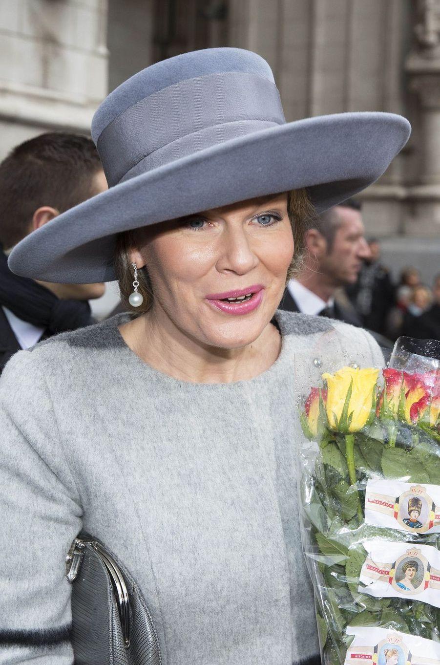 La reine Mathilde de Belgique à Laeken, le 17 février 2017