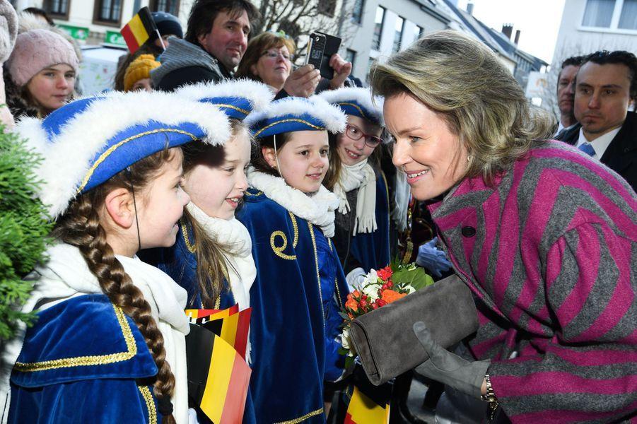 La reine Mathilde de Belgique à Saint Vith, le 27 février 2018