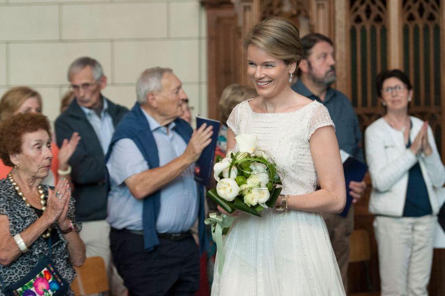 La reine Mathilde de Belgique à l'Abbaye de Val-Dieu à Aubel, le 24 juin 2015
