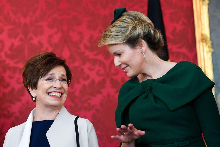 La reine des Belges Mathilde avec la Première dame autrichienne à Vienne, le 1er octobre 2018