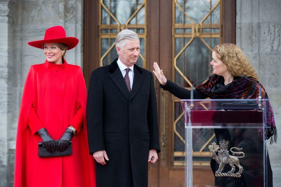 La reine Mathilde et le roi des Belges Philippe avec Julie Payette à Ottawa, le 12 mars 2018