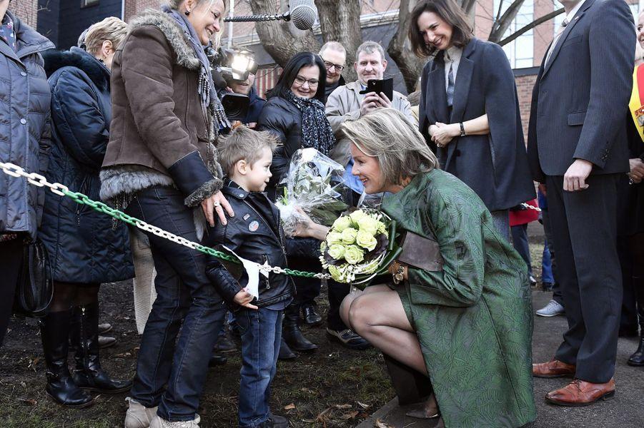 La reine Mathilde de Belgique attendue par petits et grands à Verviers, le 15 février 2017