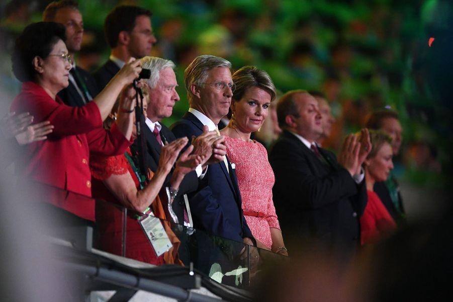 La reine Mathilde et le roi Philippe de Belgique à la cérémonie d'ouverture des JO de Rio, le 5 août 2016