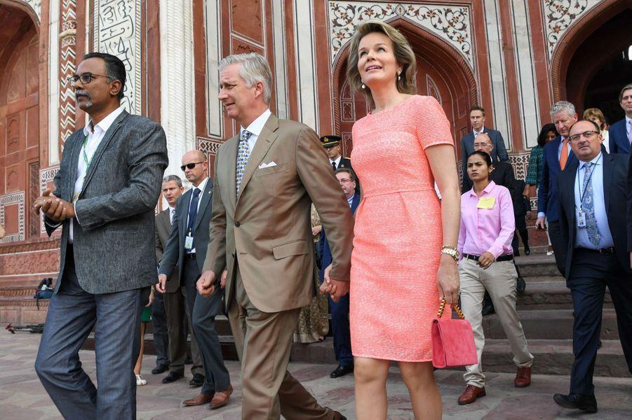 La reine Mathilde et le roi des Belges Philippe à Agra en Inde, le 6 novembre 2017