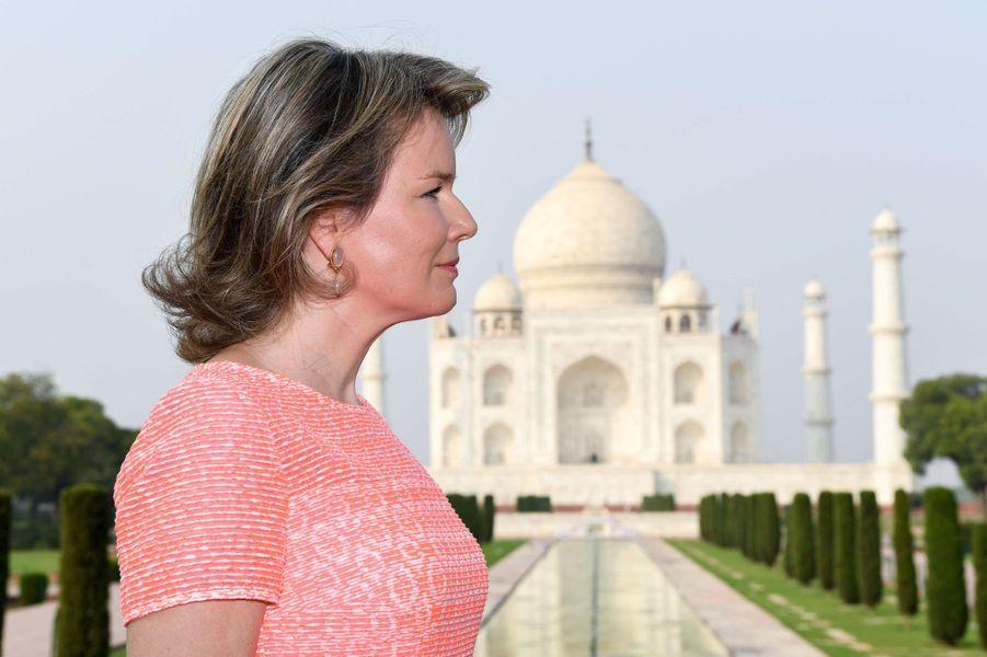 La reine Mathilde de Belgique à Agra, le 6 novembre 2017