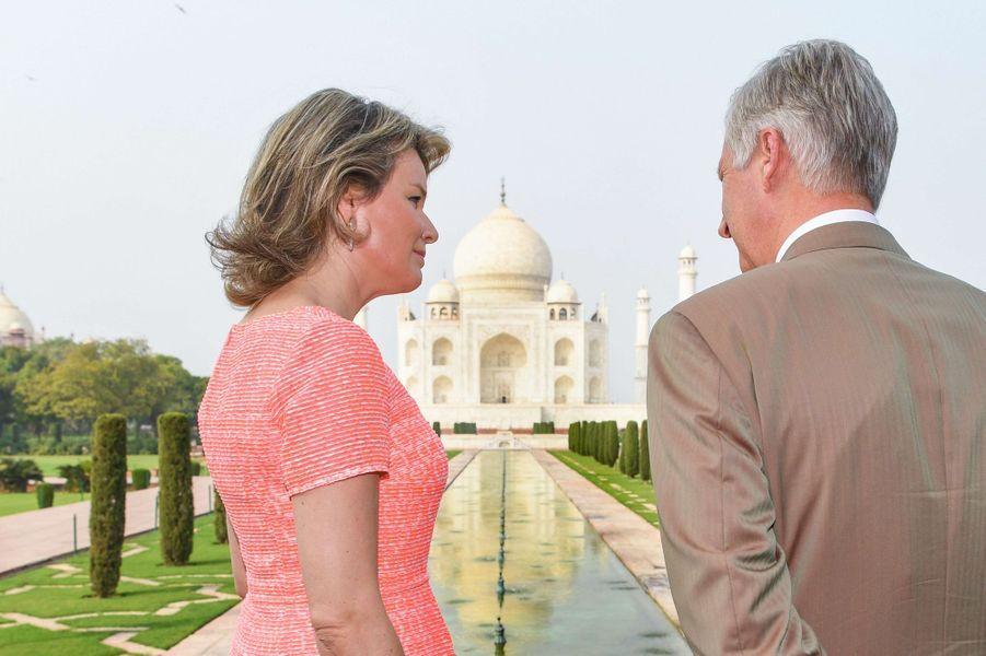 La reine Mathilde et le roi Philippe de Belgique à Agra, le 6 novembre 2017