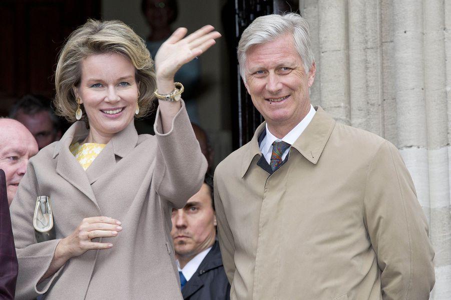 La reine Mathilde et le roi Philippe de Belgique à Dendermonde, le 25 avril 2017