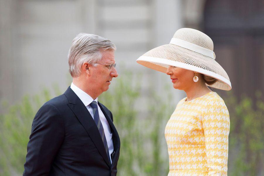 La reine Mathilde et le roi Philippe de Belgique à Bruxelles, le 18 mai 2016