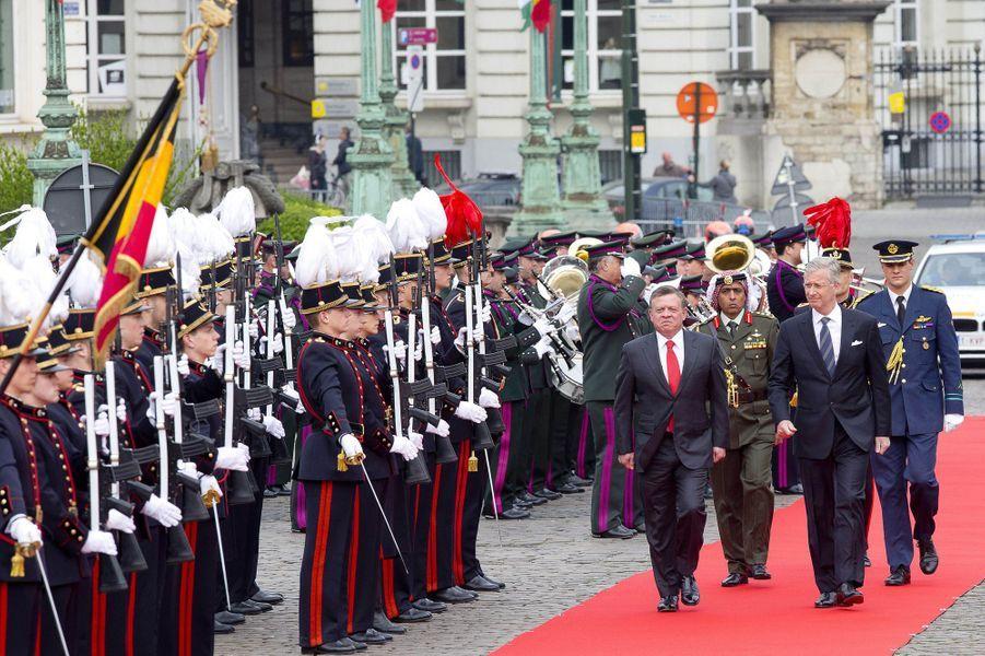 Le roi Abdallah II de Jordanie et le roi Philippe de Belgique à Bruxelles, le 18 mai 2016