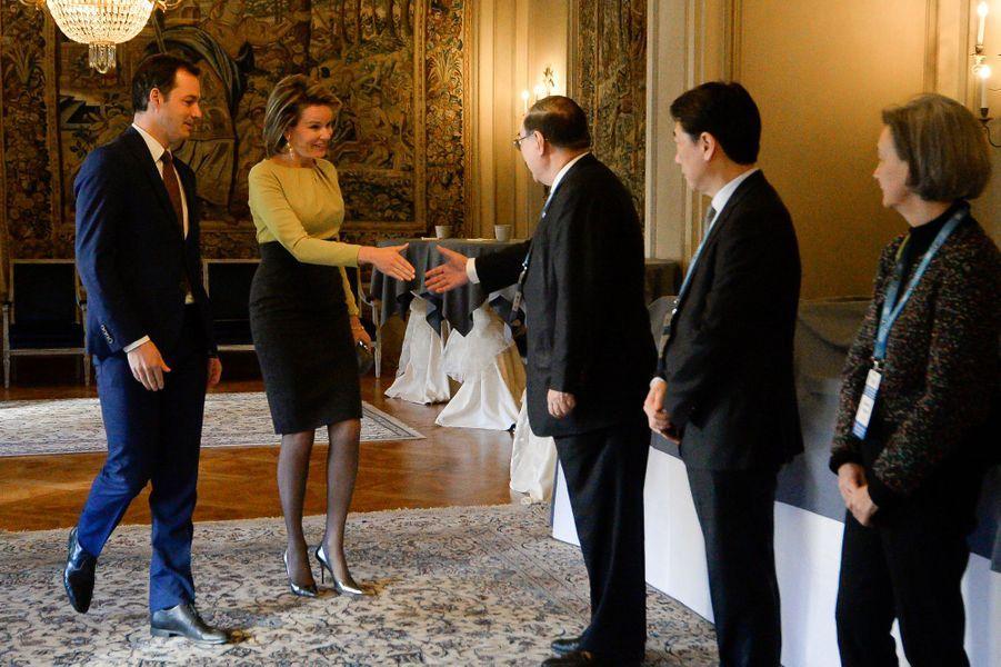 La reine Mathilde de Belgique à Bruxelles, le 7 avril 2016