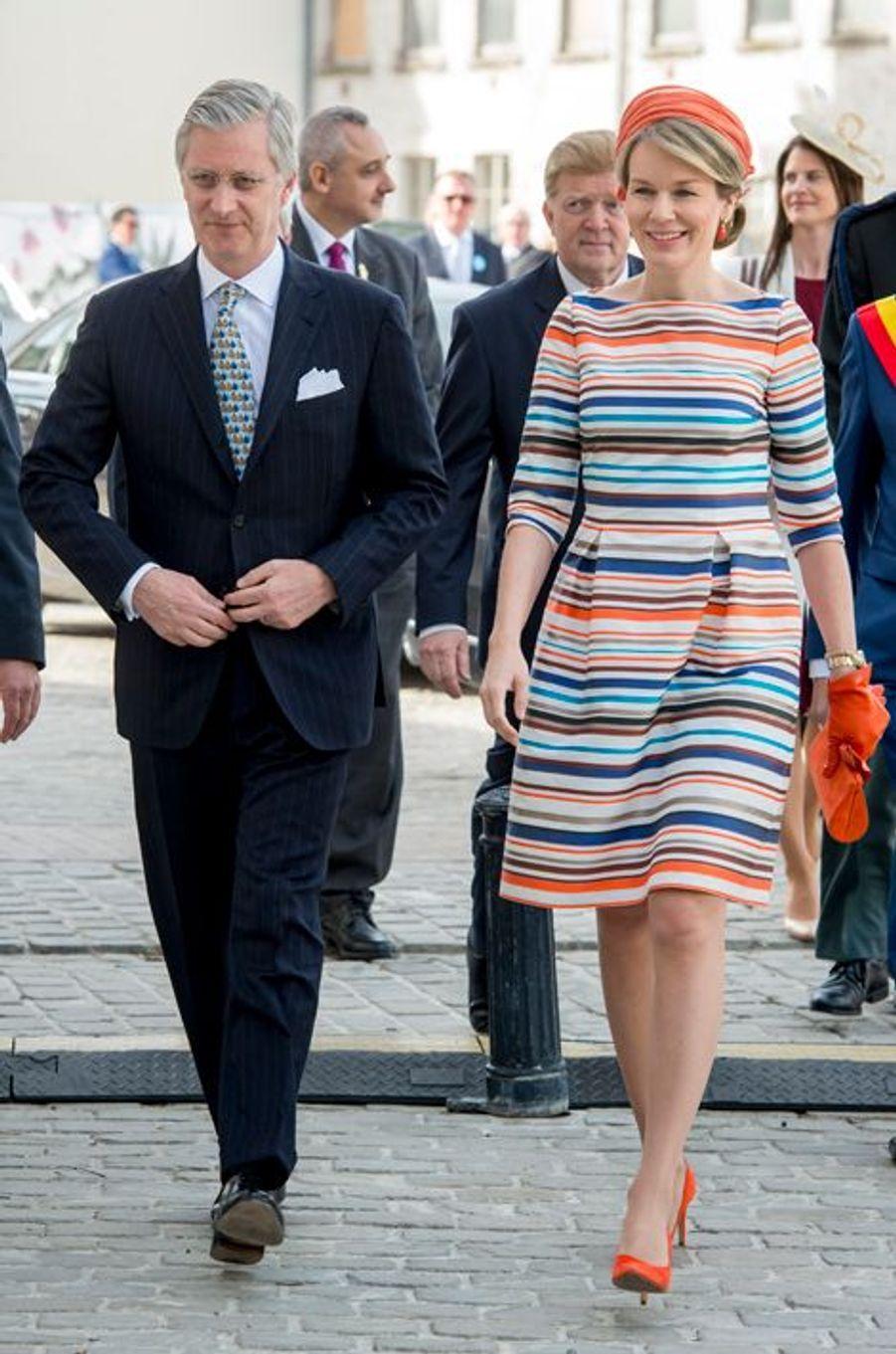 La reine Mathilde et le roi Philippe de Belgique à Gand, le 21 avril 2016