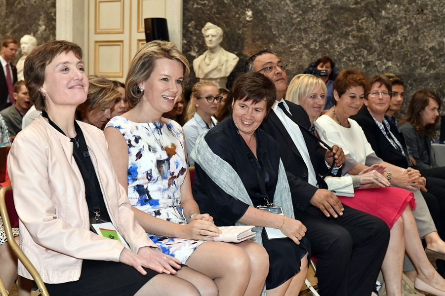 La reine Mathilde de Belgique à Bruxelles, le 5 juillet 2016