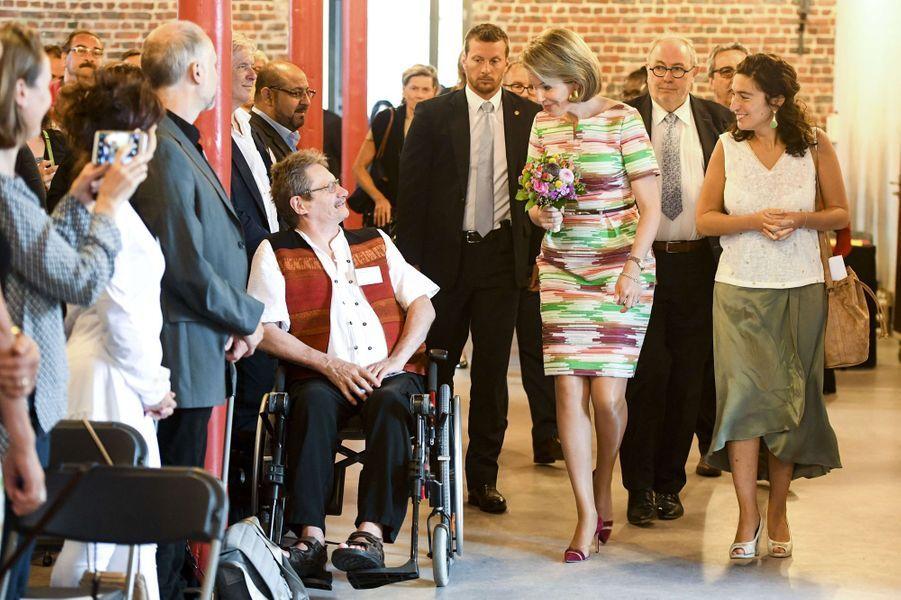 La reine Mathilde de Belgique à Saint-Gilles, le 16 juin 2017
