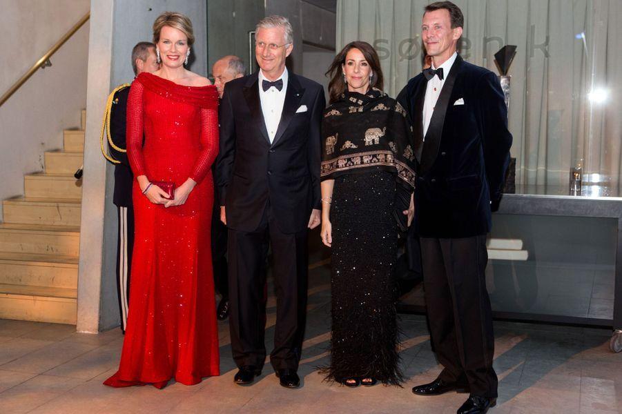 La reine Mathilde et le roi Philippe de Belgique avec la princesse Marie et le prince Joachim de Danemark à Copenhague, le 29 mars 2017