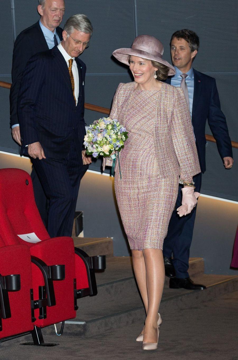 La reine Mathilde et le roi Philippe de Belgique avec le prince Frederik de Danemark à Copenhague, le 29 mars 2017