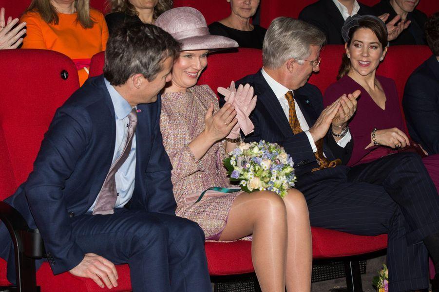 La reine Mathilde et le roi Philippe de Belgique avec la princesse Mary et le prince Frederik de Danemark à Copenhague, le 29 mars 2017