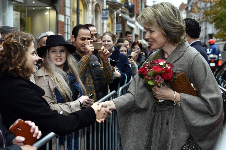 La reine Mathilde de Belgique à Louvain, le 27 octobre 2016