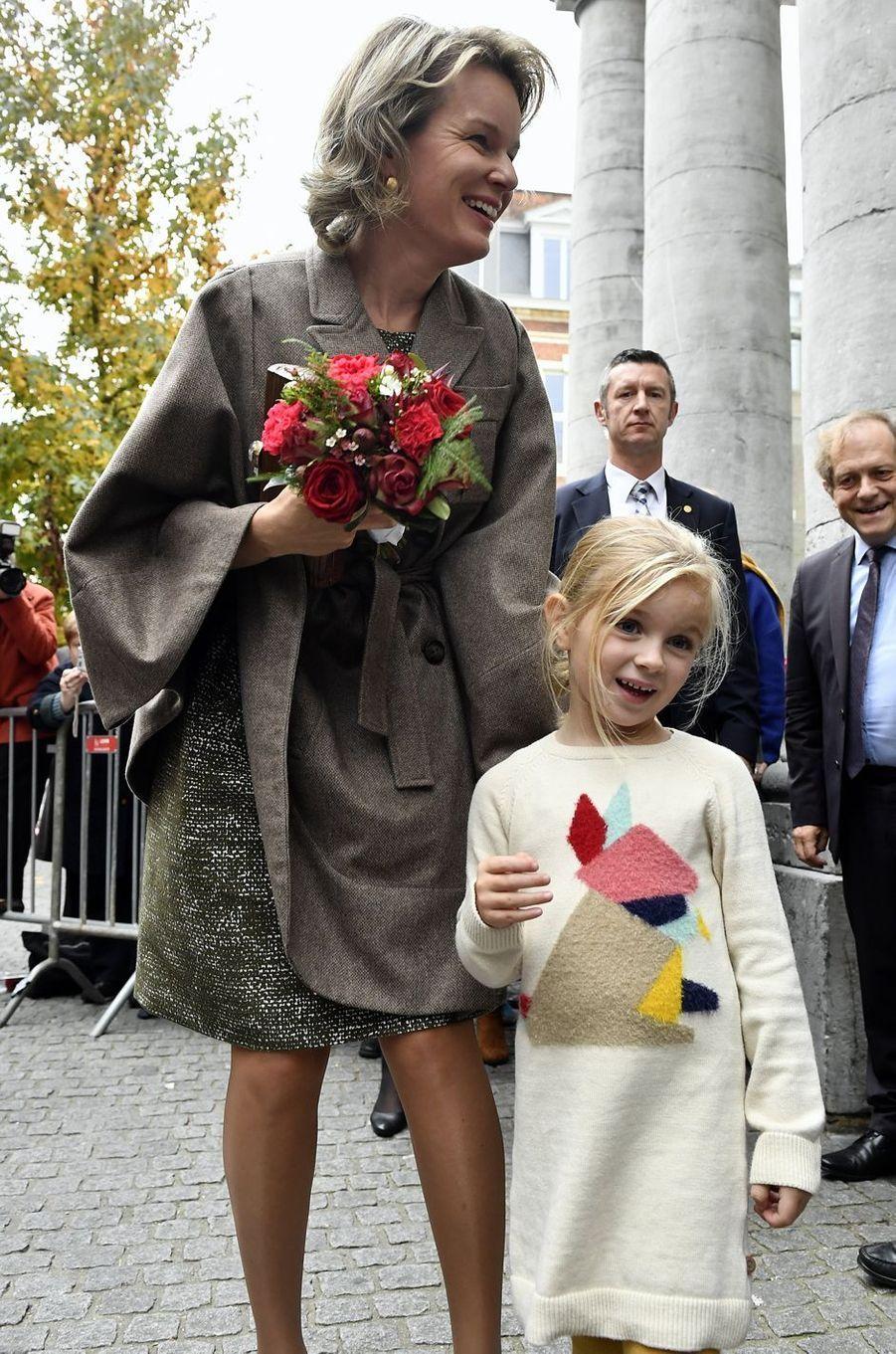 La reine Mathilde de Belgique à Louvain (Leuven en néerlandais), le 27 octobre 2016