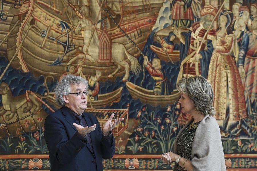 La reine Mathilde de Belgique au musée M à Louvain, le 27 octobre 2016