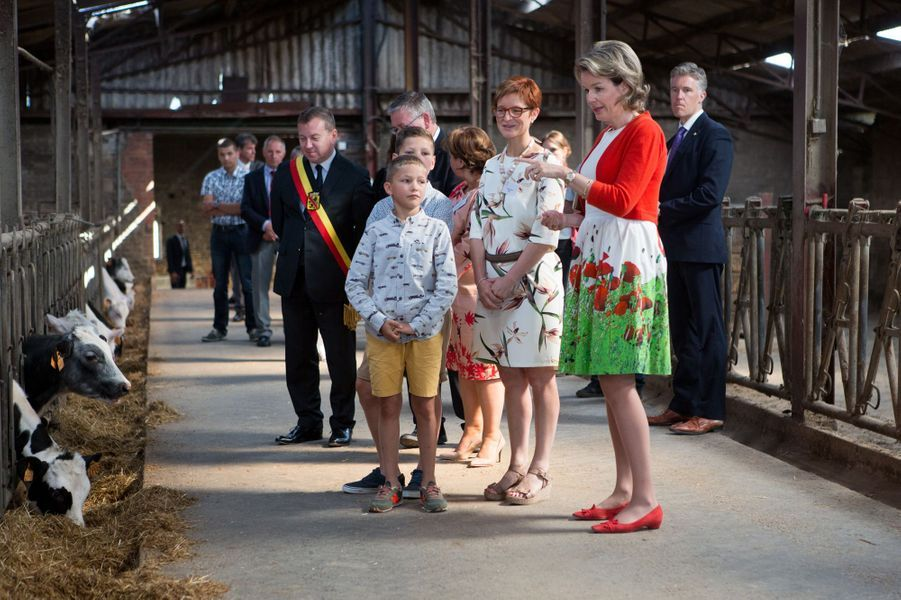 La reine des Belges Mathilde en look champêtre dans une ferme à Maillen, le 13 juin 2017