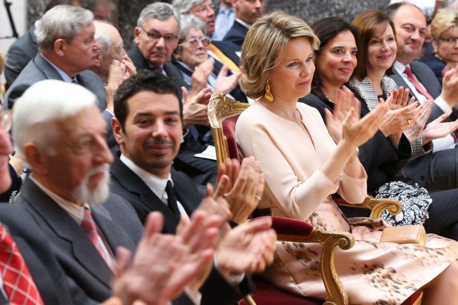 La reine Mathilde de Belgique à Bruxelles, le 14 avril 2016