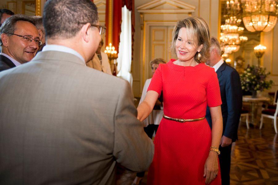 La reine Mathilde de Belgique à Bruxelles, le 11 mai 2016
