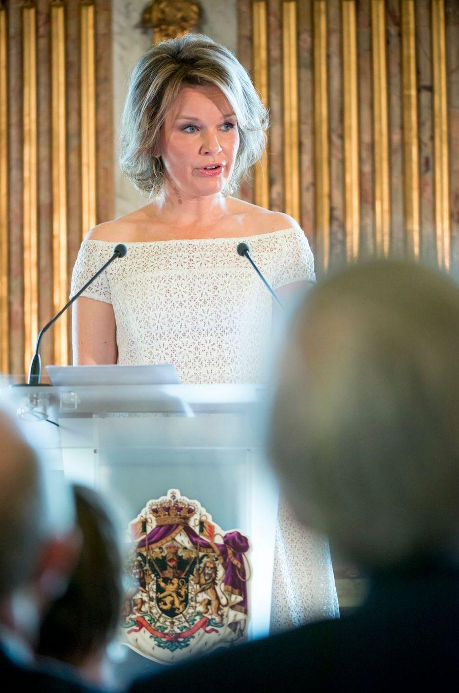 La reine Mathilde de Belgique à Bruxelles, le 12 mai 2016