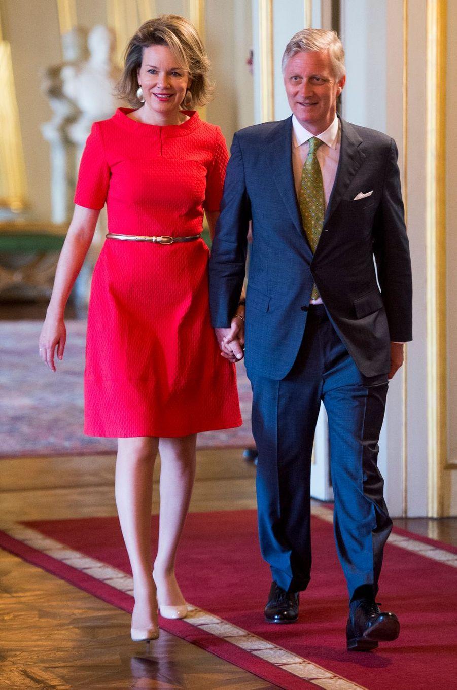 La reine Mathilde et le roi Philippe de Belgique à Bruxelles, le 11 mai 2016