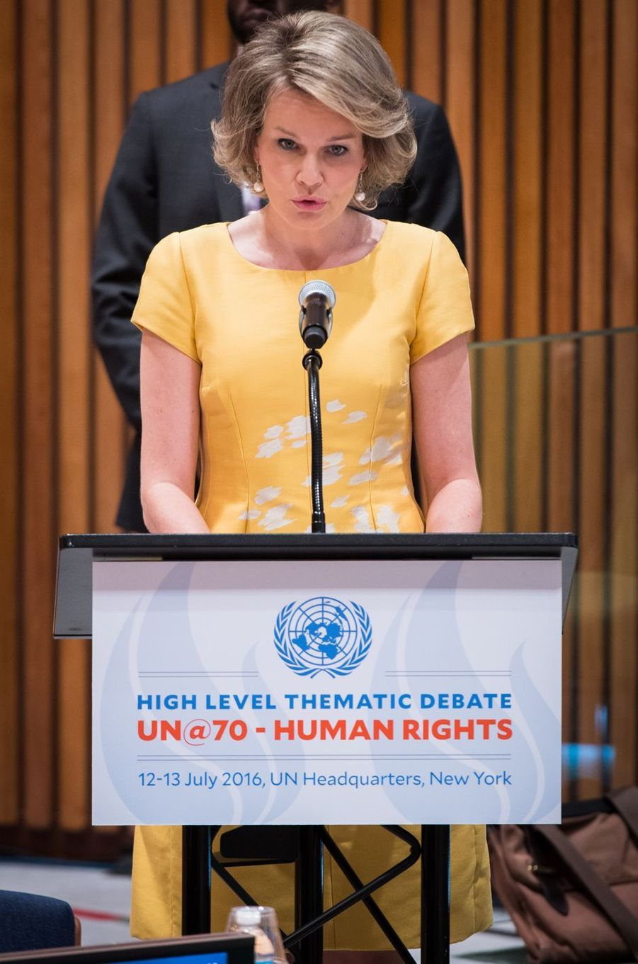 La reine Mathilde de Belgique à l'ONU à New York, le 12 juillet 2016