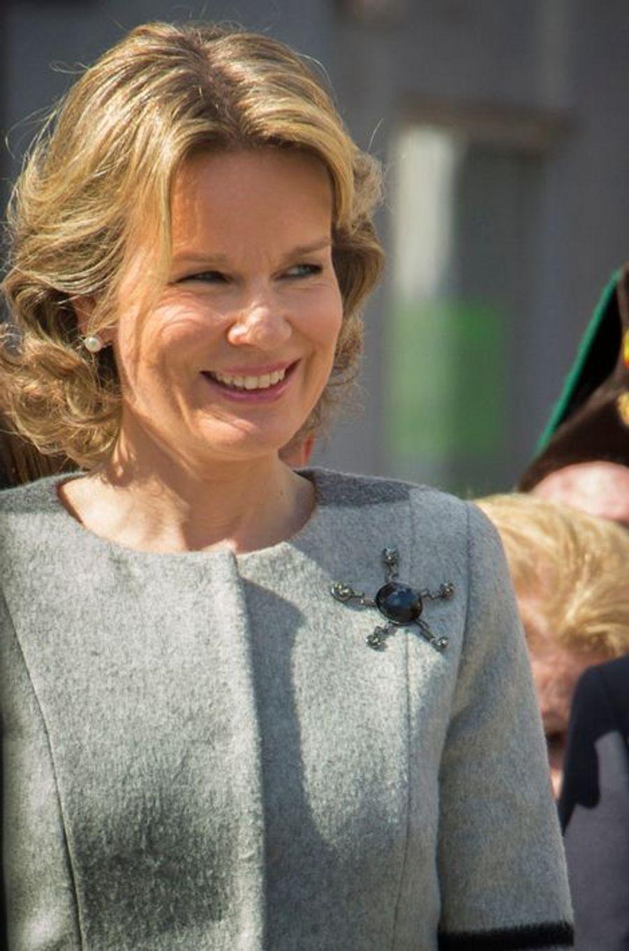 La reine Mathilde de Belgique à Bruxelles, le 3 avril 2016