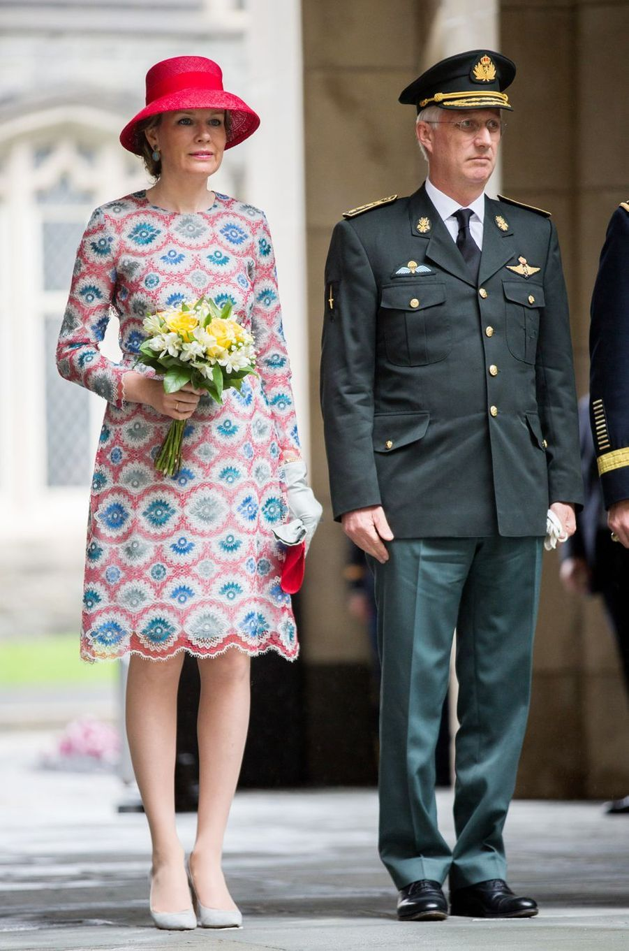 La reine Mathilde de Belgique dans une robe Natan à West Point, le 25 avril 2018