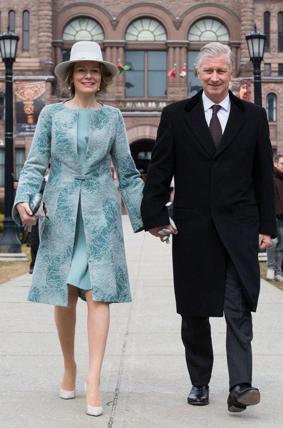 La reine des Belges Mathilde en Esmeralda Ammoun à Toronto, le 14 mars 2018