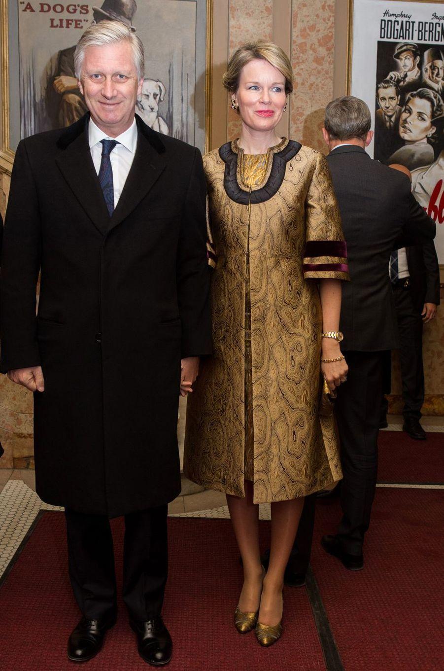 La reine des Belges Mathilde en Dries Van Noten à Montréal, le 16 mars 2018
