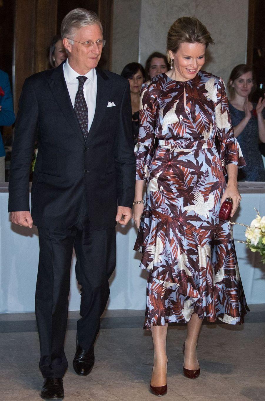 La reine des Belges Mathilde en Erdem à Montréal, le 15 mars 2018