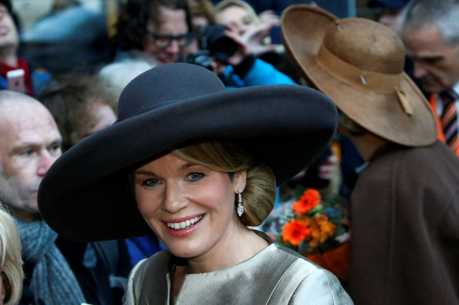 La reine Mathilde de Belgique et la reine Maxima des Pays-Bas à Amsterdam, le 28 novembre 2016