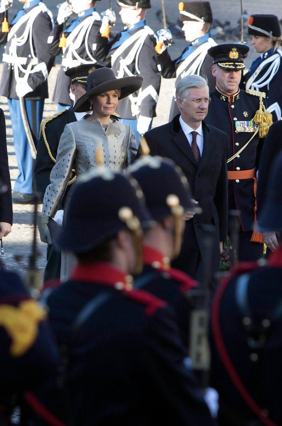 La reine Mathilde et le roi Philippe de Belgique en visite d'Etat à Amsterdam, le 28 novembre 2016