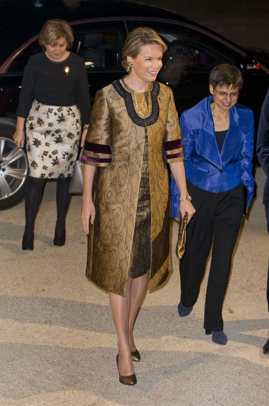 La reine Mathilde de Belgique arrive au concert inaugural de la salle reine Elisabeth à Anvers, le 26 novembre 2016