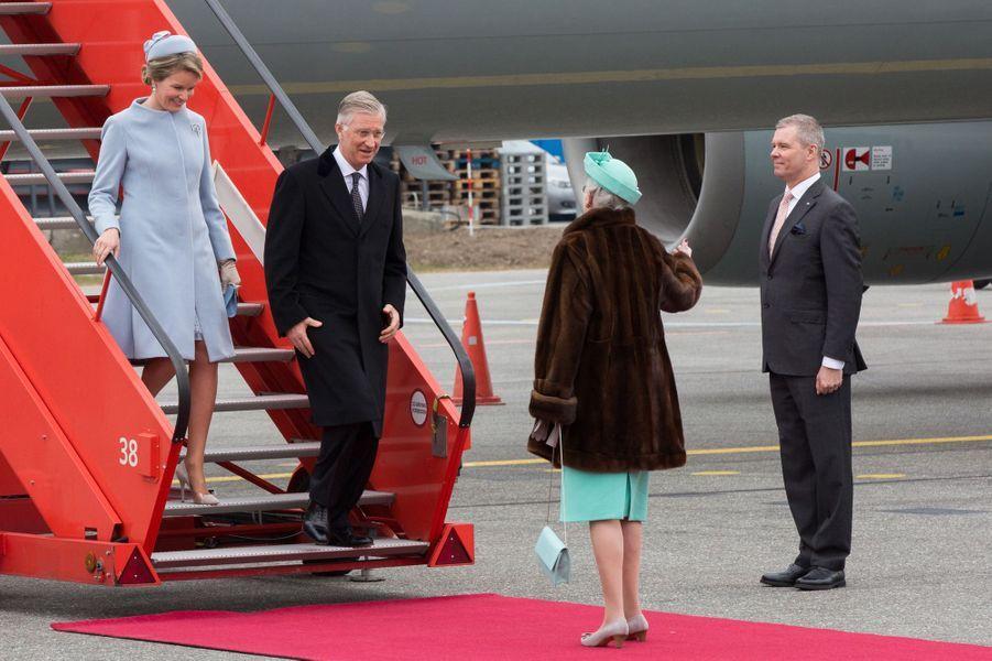 La reine Mathilde et le roi Philippe de Belgique avec la reine Margrethe II de Danemark à Copenhague, le 28 mars 2017