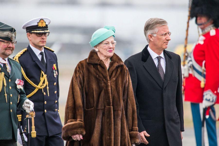 Le roi Philippe de Belgique avec la reine Margrethe II de Danemark à Copenhague, le 28 mars 2017