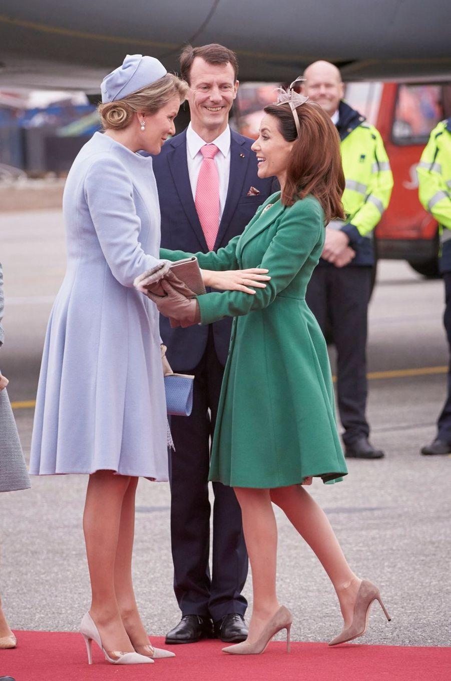 La reine Mathilde de Belgique avec la princesse Marie et le prince Joachim de Danemark à Copenhague, le 28 mars 2017