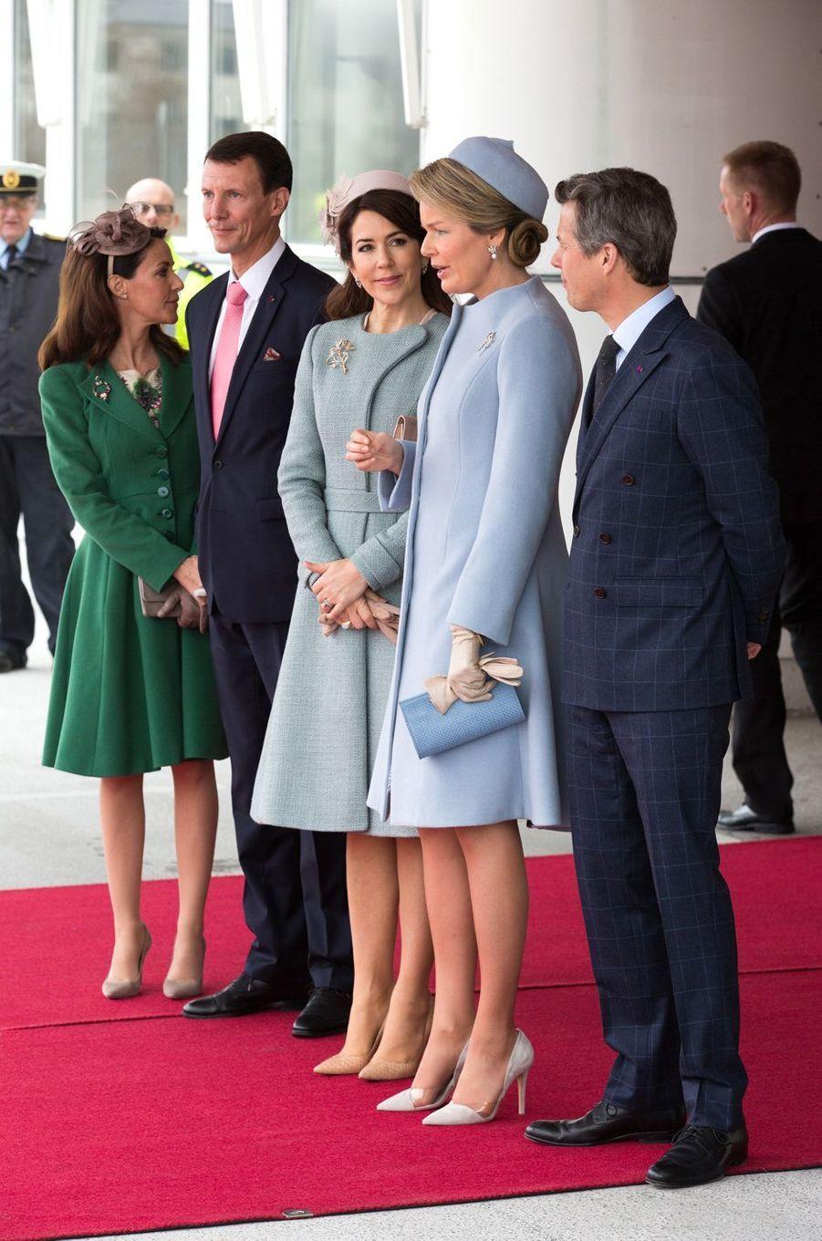 La reine Mathilde de Belgique avec la famille royale danoise à Copenhague, le 28 mars 2017
