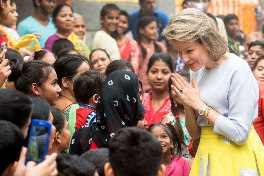 La reine Mathilde de Belgique à New Delhi, le 8 novembre 2017